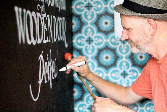 Blue Door Cafe Drawing 2