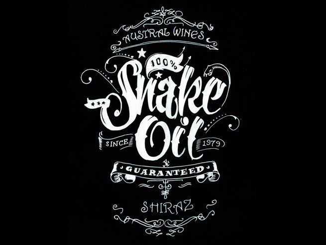 HL snake oil wine label