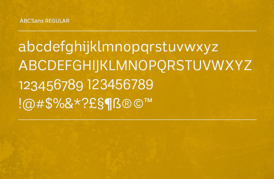 A sample of the Regular weight of ABCSans font