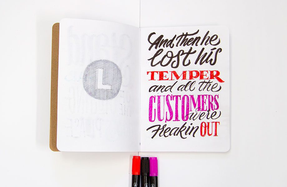 Customers-Freakin-Out-Overheard-On-The-Subway-Brooklyn-Sketchbook-Project-handlettering-Ironlak-Aquarelle