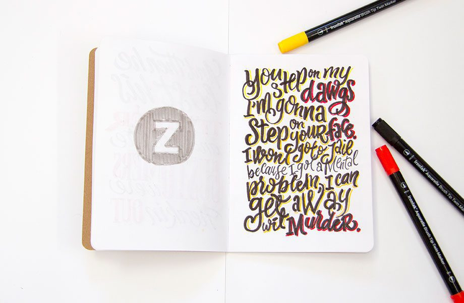 Dawgs-Overheard-On-The-Subway-Brooklyn-Sketchbook-Project-handlettering-Ironlak-Aquarelle