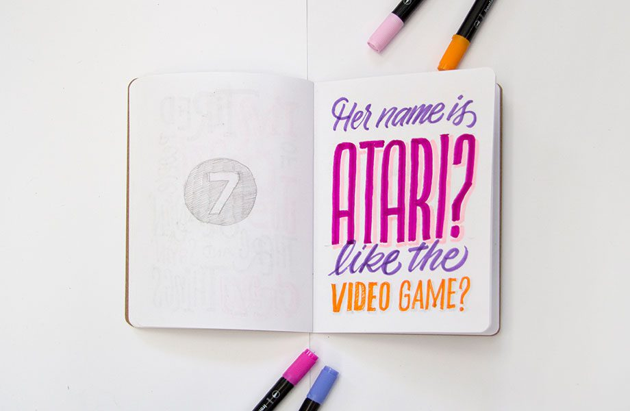 Her-Name-Is-Atari--Overheard-On-The-Subway-Brooklyn-Sketchbook-Project-handlettering-Ironlak-Aquarelle
