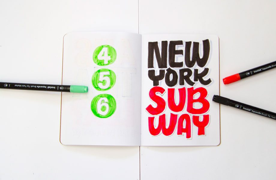 New-York-SubwayOverheard-On-The-Subway-Brooklyn-Sketchbook-Project-handlettering-Ironlak-Aquarelle