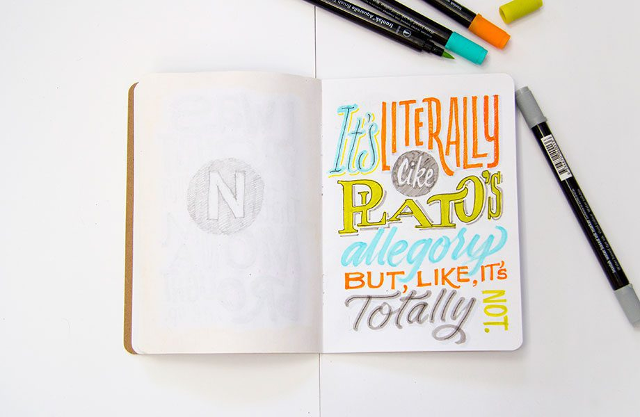 Platos-Allegory-Overheard-On-The-Subway-Brooklyn-Sketchbook-Project-handlettering-Ironlak-Aquarelle