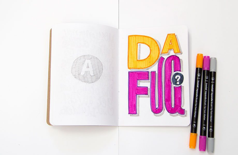 dafuq-Overheard-On-The-Subway-Brooklyn-Sketchbook-Project-handlettering-Ironlak-Aquarelle